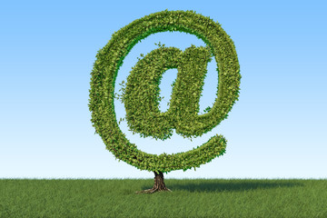 Tree in the shape of mail symbol on the green grass against blue sky, 3D rendering
