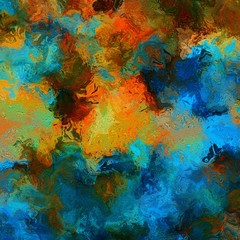 Abstract marbled watercolor texture background. Orange and blue grunge creative artwork.