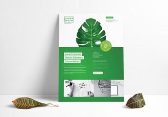 Flyer Layout with Leaf Illustration