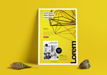 Flyer Layout with Bright Yellow Background