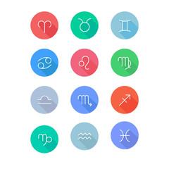 Zodiac signs (horoscope symbols) flat icons set. Colorful stylish design