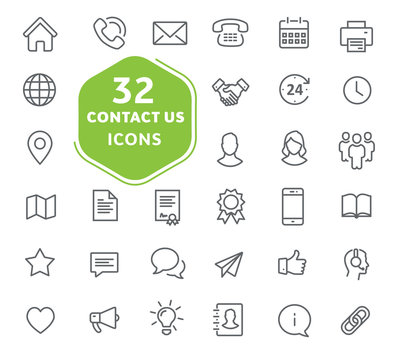Contact us icons. Thin lines icons set for user interfaces