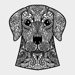 Ornamental head of dog - a symbol of new year 2018. Black and white concept.