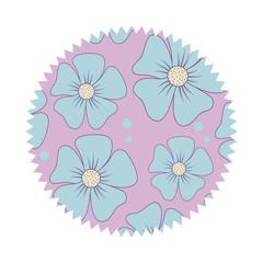 seal stamp with floral design, colorful design. vector illustration
