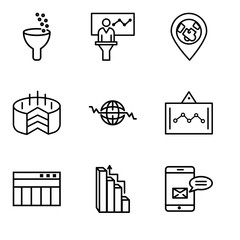 Set Of 9 simple editable icons such as Data analytics bars, Targeting, Table for data, Data analytics screen, Global Heart Beat, Folder Connected Circuit, 3d pie chart graphic, Person in data