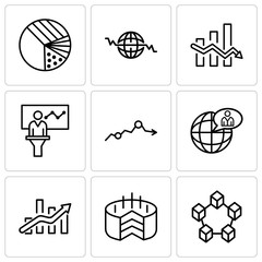 Set Of 9 simple editable icons such as Data interconnected, Folder Connected Circuit, Bars chart, Global user, Missing data on analytics, Person in data analytics presentation, Data analytics