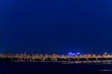 night landscape of the city bridge in the lights