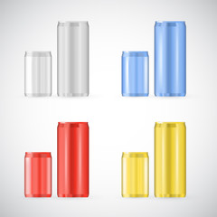 Tin cans set, realistic beverage foil container illustration side view isolated on white. Typical aluminum package for soda and beer with empty space for branding, recyclable material.