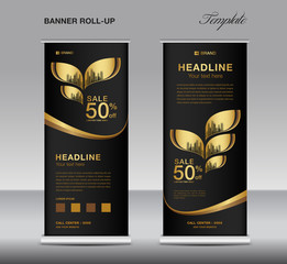 Black and Gold Roll up banner template vector, advertisement, x-banner, poster, pull up design, display, layout , business flyer, web banner, exhibition, stand, presentation, luxurious concept idea