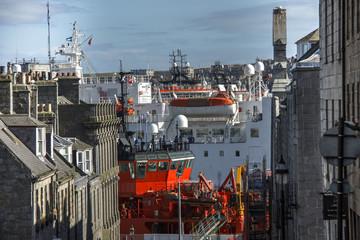 Harbour seen from Marischal Street. Aberdeen, Scotland, United Kingdom.