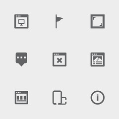 Set of 9 screen filled icons