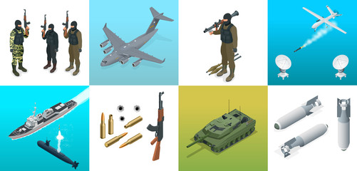 Isometric icons submarine, aircraft, soldiers. Set of military equipment flat high quality military vehicles transport.