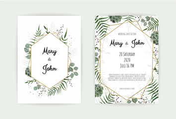 Natural botanical wedding invitation template. Vector floral design card. Geometrical golden frame, border with copy space.