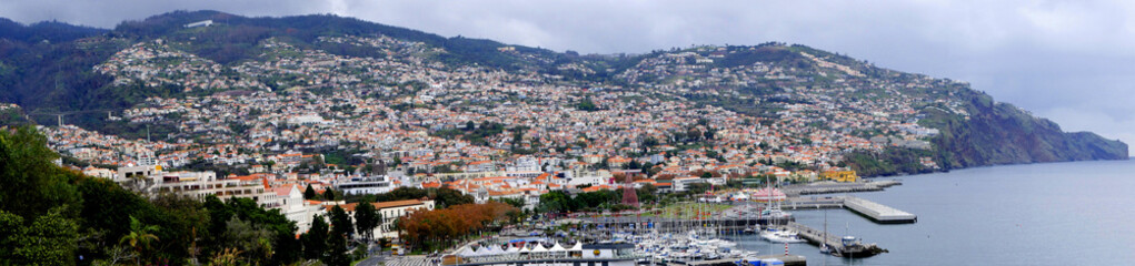 View over the city of Funchal on the island of Madeira in the Atlantic Ocean. It is a busy an thriving city