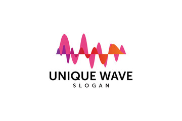 unique audio pulse or wave logo design element