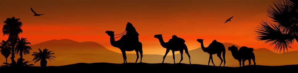 Camel caravan on sunset
