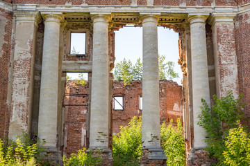 Petrovskoe-Alabino Estate - the ruins of an abandoned farmstead at the end of the 18th century, Moscow Region, Russia. August 2017