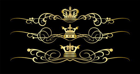 Golden elements on black background. Victorian Scrolls and crown in classic, vintage, retro, Royal style. Vector illustration for your design