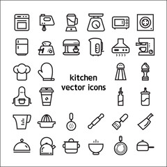 Stock vector illustration - Outline web icon set linear icon kitchen and food , appliance