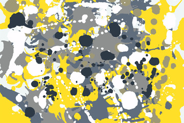 Grey, yellow, blue, white ink splashes camouflage background