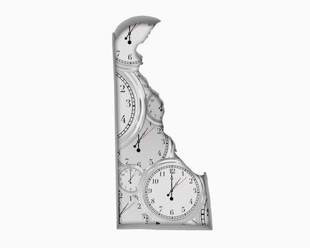Delaware DE Clock Time Passing Forward Future 3d Illustration