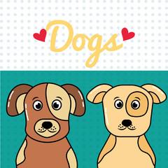 dogs pets portrait cartoon spotty animals vector illustration