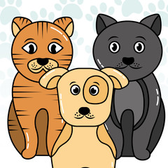 pets dog and cats sit animals vector illustration