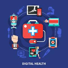Digital Health Flat Symbols Poster