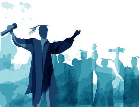 Graduation in silhouette in water color painting