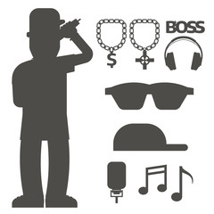 Hip hop man accessory musician vector accessories silhouette microphone breakdance expressive rap modern young fashion person adult people illustration.