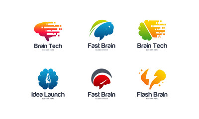 Collection of Fast Brain logo designs concept, Brain logo template, Launch Idea logo