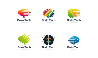 Collection of Brain Tech logo designs, Mind Technology logo, Robotic Brain logo template