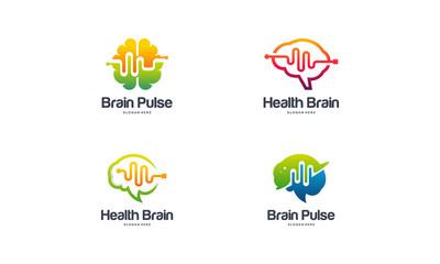 Collection of Health Brain logo designs concept vector, Brain Pulse logo, Brain Vibe logo template vector