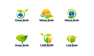 Collection of Nature Brain logo designs concept vector, Nature Mind logo template