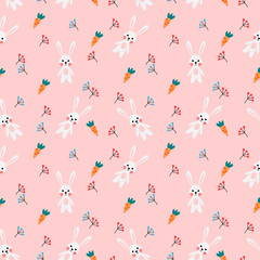 Seamless pattern vector of cute white rabbit and carrot on pink background.