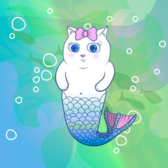Pretty Cat Mermaid with Pink Bow
