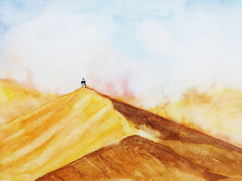 watercolor landscape desert with the man stand alone in sandstorm. hand drawn.