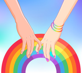 Two women holding hands over gay community rainbow colored flag. Lesbian couple. Vector illustration. Valentine's Day card design. LGBT sign for textiles and fabrics