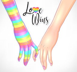 Two women holding hands isolated on white. One hand with rainbow stripes. Lesbian couple. Vector illustration. Valentine's Day design. LGBT sign for textiles and fabrics, t-shirts,  stickers.