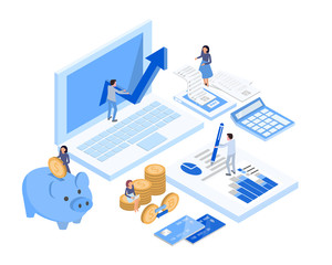 accountant working space, isometric