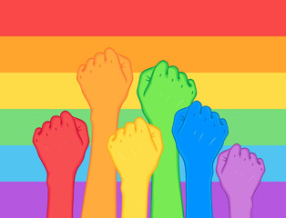 Fight for gay rights. Human hands (fists) raised up. Rainbow color Vector illustration. Flag of LGBT community. Cartoon sticker with contour. posters, patches, prints