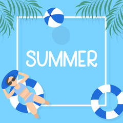 summer time background design with pool blue water