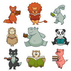 Cartoon animals reading books vector kid design