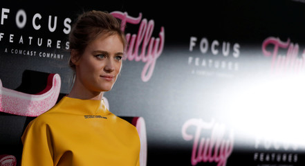"""Cast member Davis poses at the premiere for """"Tully"""" in Los Angeles"""
