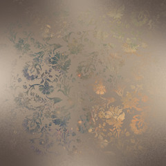 Distressed Damask foiled textured paper background.
