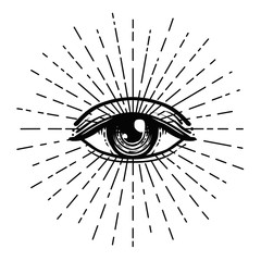 Tattoo flash. Eye of Providence. Masonic symbol. All seeing eye inside triangle pyramid. New World Order. Sacred geometry, religion, spirituality, occultism. Isolated illustration.