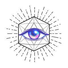 Tattoo flash. Eye of Providence. Masonic symbol. All seeing eye inside triangle pyramid. New World Order. Sacred geometry, religion, spirituality, occultism. Isolated illustration.