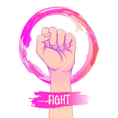 Women's March. Female hand with her fist raised up. Girl Power. Feminism concept. Realistic isolated vector illustration in pink hand drawn watercolor circle. Sticker