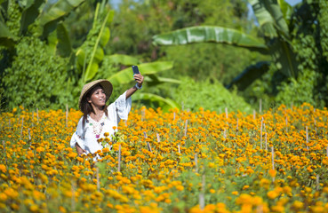 happy and beautiful young Asian tourist woman taking selfie pic in gorgeous orange marigold flowers field wearing traditional Asia hat enjoying holidays