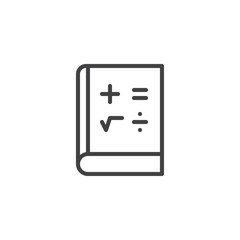 Mathematics book outline icon. linear style sign for mobile concept and web design. Math education simple line vector icon. Symbol, logo illustration. Pixel perfect vector graphics